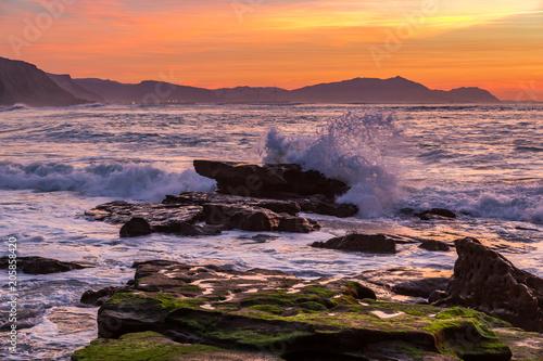 Sunset on the Basque coast
