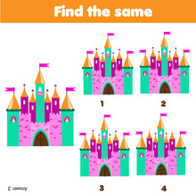 Find The Same Pictures Children Educational Game Find Same Fairy Castle Sticker