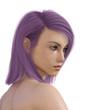 Junge Frau mit violetter Haarfarbe, Freisteller