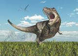 Dinosaurier Tyrannosaurus Rex und Flugsaurier Quetzalcoatlus
