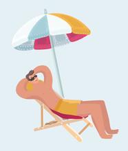 Person Take Rest Sitting Under Umbrella  Sticker