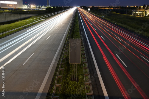 Aluminium Nacht snelweg Gorgeous long exposure view at a highway A14 (Autobahn) in Leipzig, Germany