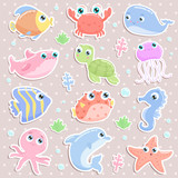 Cute sea animal stickers. Flat design. - 205865815