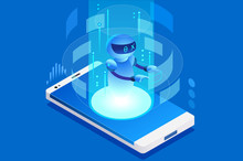Technology For Talk Digital Call Creative Virtual Engineering Mobile Ai Concept Can Use As Clipart Or Sticker For Web Banner Infographics Hero Images Flat Isometric  Illustration Sticker