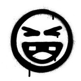 graffiti laughing icon face in black over white - 205868421