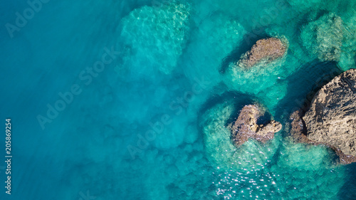 Aerial view on the sea. Beautiful natural seascape at the summer time