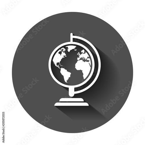 Fototapeta Globe world map vector icon. Round earth flat vector illustration. Planet business concept pictogram with long shadow.
