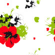 beautiful red flowers ,butterflies, on a white - 205872402