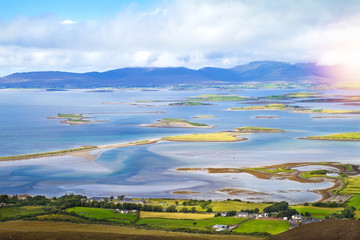 Beautiful scenic sea and mountain landscape with islands. View from Croagh Patrick - mountain in Co. Mayo, Westport, West coast of Ireland, Atlantic ocean © freeskyline