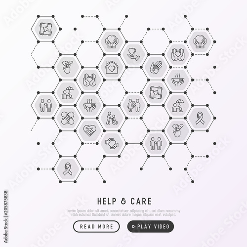 Help And Care Concept In Honeycombs With Thin Line Icons Symbols Of