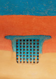 Traditional wooden Nepalese window called Ankhi jhyal. Painted blue on blue, orange and ocher mud wall. - 205877069
