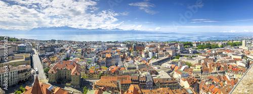 Leinwanddruck Bild Lausanne, Genfer See, Ausblick