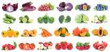 Obst und Gemüse Früchte Apfel Tomaten Paprika Orangen Beeren Salat Zwiebeln Farben Collage Freisteller freigestellt isoliert