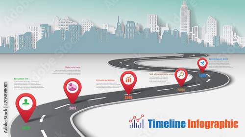 Business road map timeline infographic city designed for abstract background template milestone element modern diagram process technology digital marketing data presentation chart Vector illustration - 205898001