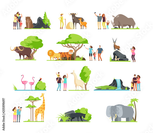 Plexiglas Zoo Happy families, kids with parents and wild zoo animals in wildlife park. Vector cartoon set isolated on white background