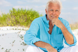 Portrait of Attractive Handsome Senior Man on Beach