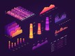 Futuristic 3d isometric data graphic, business charts, statistics diagram and infographic vector elements