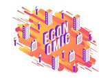 Economic isometric word design with volumetric letters and business elements on modern abstract gradient background with geometric shapes and stripes, isolated vector illustration.