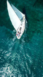 Aerial birds eye view from drone of yacht in deep blue sea - 205901465