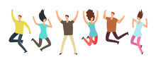 Happy Jumping Adult Friends Group Of People In Jump Healthy Active People And Friendship  Concept Sticker