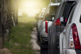 Many cars are parked next to the garden with grass and tall trees. - 205903055