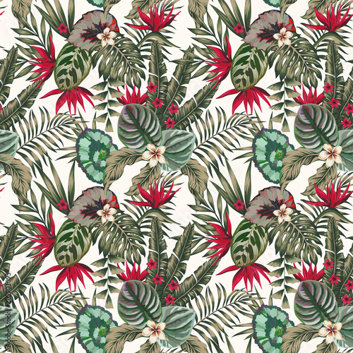 Cotton fabric Exotic plants leaves flowers abstract color seamless