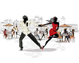 Hand drawn vector architectural background with historic buildings and people. Romantic couple in passionate Latin American dances. Salsa festival.