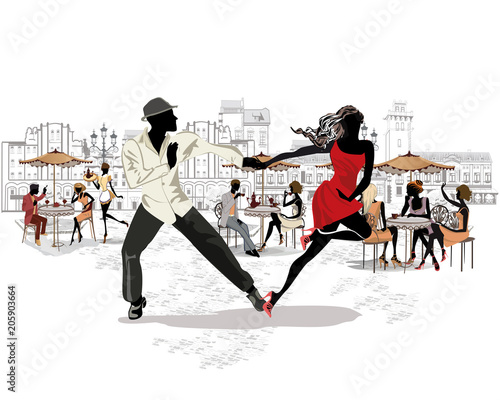 Fototapeta Hand drawn vector architectural background with historic buildings and people. Romantic couple in passionate Latin American dances. Salsa festival.