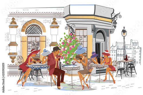 Series of the street cafes with people, men and women, in the old city, vector illustration. Romantic couple. © Anna