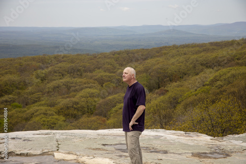 Hiker on Sam's Point overlook, New York