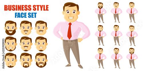 Businessman Face Set Cartoon character