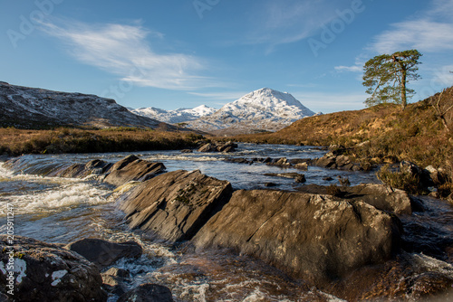 Fotobehang Bergrivier lone tree by flowing river in Scottish highlands