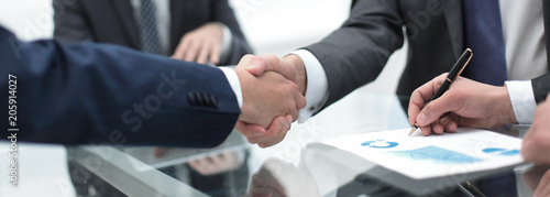 Leinwanddruck Bild close up.handshake of business partners