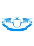 leere fläche cool flügel krone könig schild wappen emblem rahmen banner design logo text schreiben name feld leer