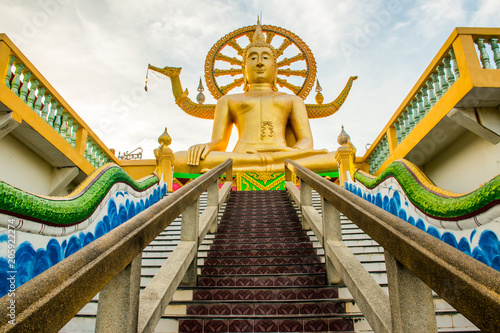 Big Buddha statue at Wat Phra Yai temple the morning on Koh Samui Island in Thailand
