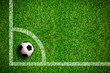 Leinwanddruck Bild - Fußball auf Rasen, Eckball
