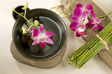 Natural elements with Orchid flower floating in a Black Bowl