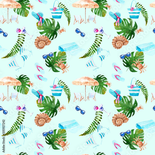 Cotton fabric watercolor drawings. theme beach