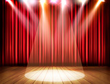 A theater stage with a red curtain and a spotlight. Vector. - 205930659
