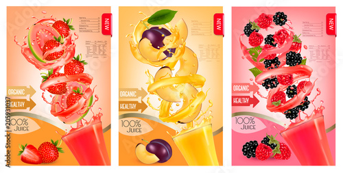 Label of peach juice splash in a glass. Desing template. Vector. - 205931037