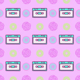Seamless pattern art.  Retro cassette background. Use for t-shirt, greeting cards, wrapping paper, posters, fabric print. Fashion designer Sketch - 205931663