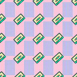Seamless pattern.  Cassette retro background. Use for t-shirt, greeting cards, wrapping paper, posters, fabric print. Fashion Sketch minimal hipster art - 205931679