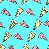 Seamless pattern. Minimal Pizza background. Use for t-shirt, greeting cards, wrapping paper, posters, fabric print. Fashion Hipster Illustration - 205932065