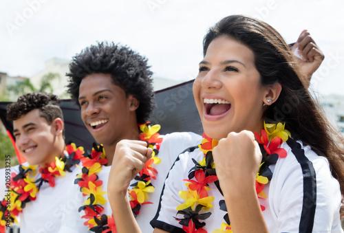 Fotobehang Voetbal Deutsche Fussball Fans freuen sich über Tor