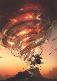 red tornado with lightning destroying the little old house, digital art style, illustration painting - 205940624