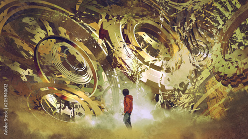 boy standing and looking at broken golden gear wheels, digital art style, illustration painting © grandfailure