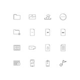 Files And Folders, Sign linear thin icons set. Outlined simple vector icons - 205941657
