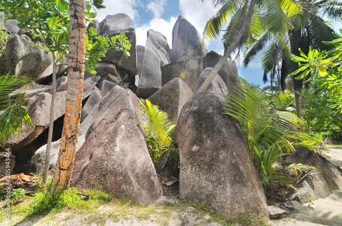 Granite rock formations on beaches of the island La Digue , Seychelles
