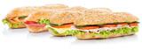 Baguette Brötchen belegt mit Schinken Salami Käse Lachs Fisch Sandwich frisch Vollkorn freigestellt Freisteller
