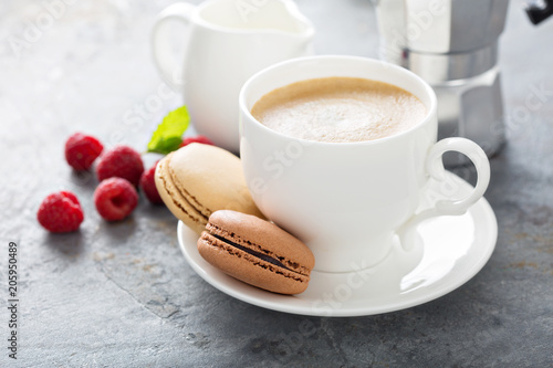 Plexiglas Macarons A cup of espresso coffee with macarons